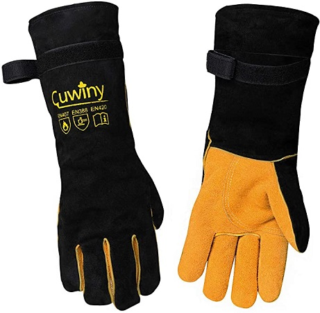 Cuwiny Heat Fire Resistant Leather Forge Gloves